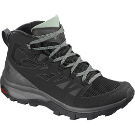 Salomon Outline Mid GTX Kengät Naiset, black/magnet/green milieu